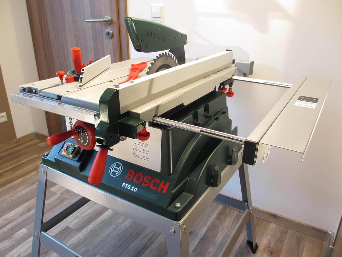 bosch pts 10 t tischkreissäge & untergestell im test