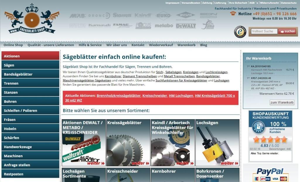 Sägeblatt-Shop Startseite